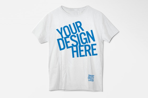 View of a white t-shirt mockup