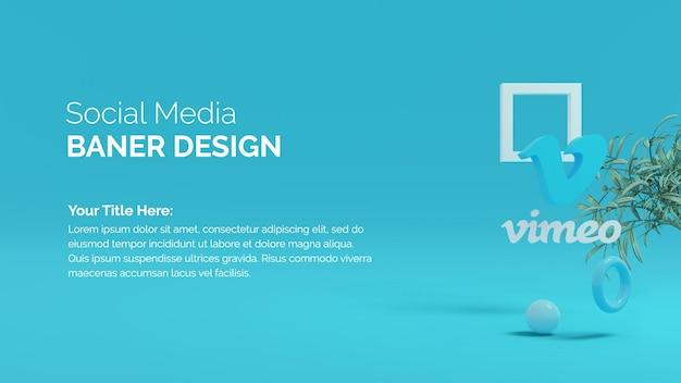 소셜 미디어 마케팅을 위한 vimeo 로고 격리 3d 렌더링