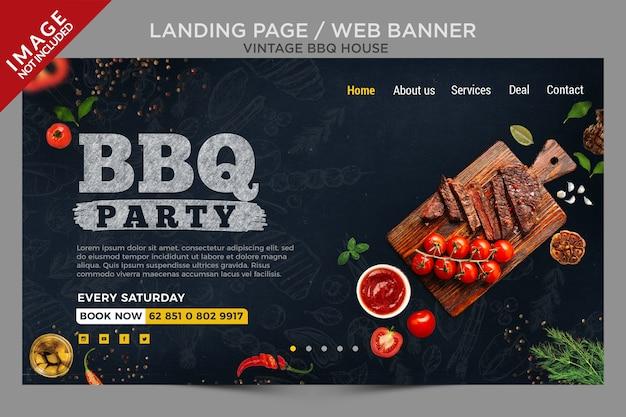 Целевая страница или серия веб-баннеров vintage bbq house