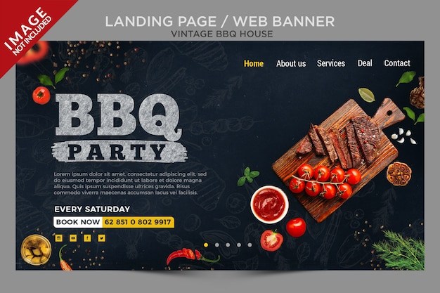 Vintage bbq house landing page or web banner series