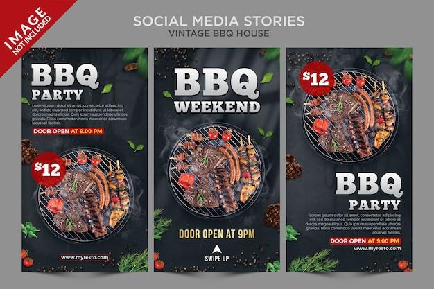 Vintage bbq house social media stories series