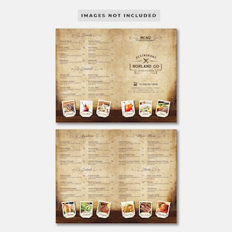 Vintage bifold restaurant menu template