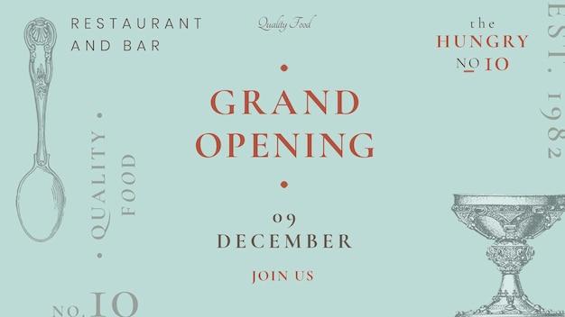 Modello di banner per blog vintage psd per ristorante, remixato da opere d'arte di pubblico dominio