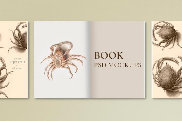 Винтажная книжная обложка, макет, psd, канцелярские товары с водным существом, ремикс из произведений эдуара мане