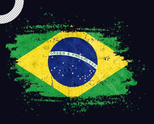 Vintage brazil flag with brush stroke