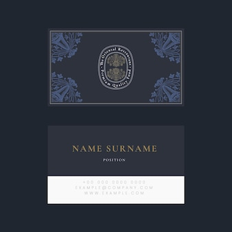 Vintage business card template psd for restaurant, remixed from public domain artworks