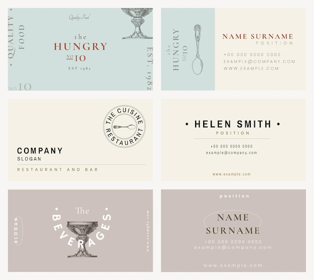 Vintage business card template psd for restaurant set, remixed from public domain artworks