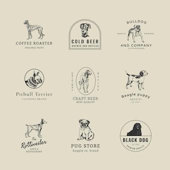 モーリッツ・ジャングのアートワークからリミックスされたヴィンテージ犬のイラストセットとヴィンテージビジネスロゴテンプレートpsd
