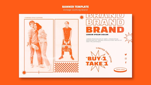 Vintage clothing brand banner template with photo