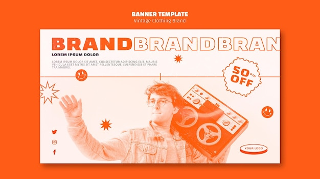 Vintage clothing brand banner template