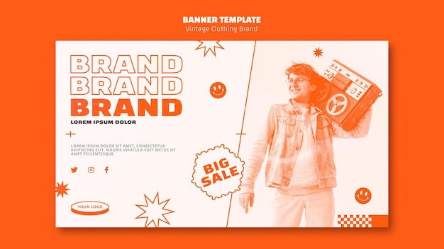 Vintage clothing brand banner with photo