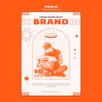 Vintage clothing brand flyer template