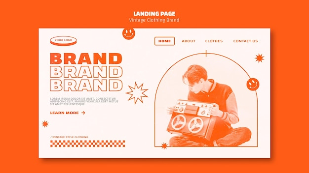 Vintage clothing brand landing page template with photo