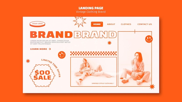 Vintage clothing brand landing page template