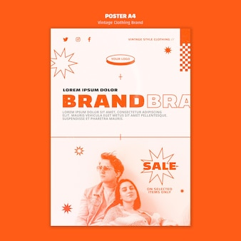 Vintage clothing brand poster template