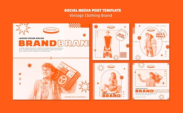 Vintage clothing brand posts template
