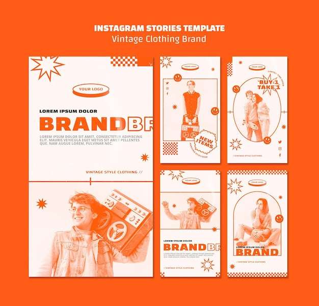 Vintage clothing brand stories template