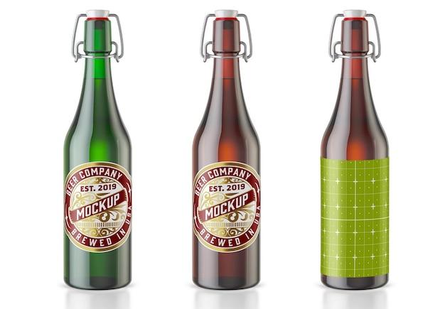 ヴィンテージカラフルなガラスビール瓶のモックアップ