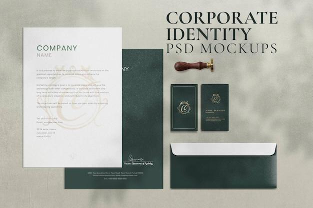 Set di cancelleria per il branding psd vintage mockup di identità aziendale