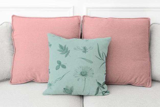 Винтажная хлопковая наволочка для подушки psd в концепции жизни с цветочным узором