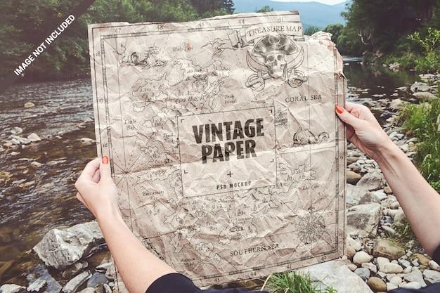 Vintage crumpled map mockup