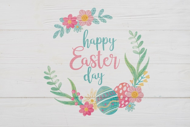 Vintage easter day mockup with flowers