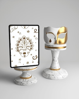 Vintage elegant white and golden mask and mock-up