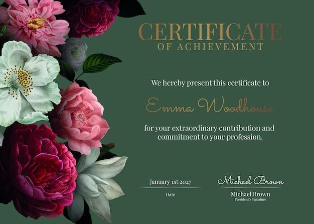 Винтажный цветочный шаблон сертификата psd в роскошном стиле
