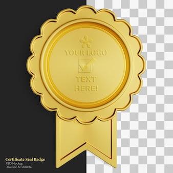Vintage flower shape golden medal certificate seal badge realistic mockup