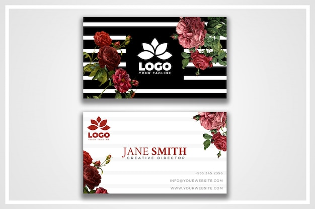 Vintage flowers psd business card template