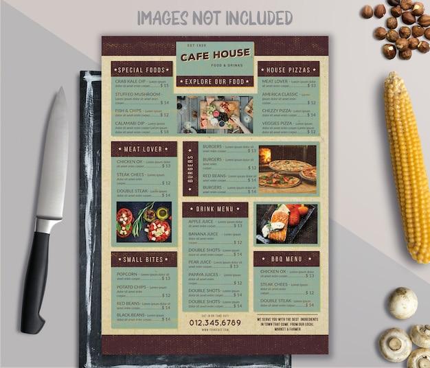 Vintage food menu