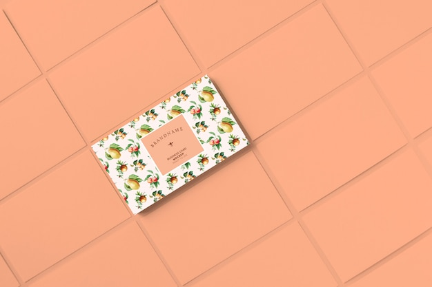 Vintage fruits business card template mockup