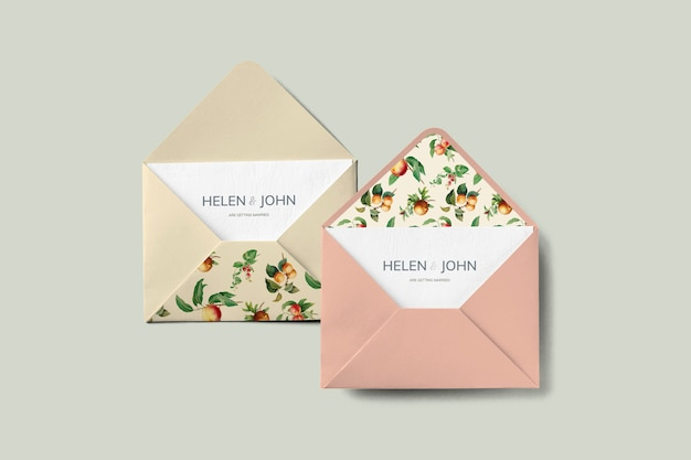 Vintage fruits invitation card envelope mockup