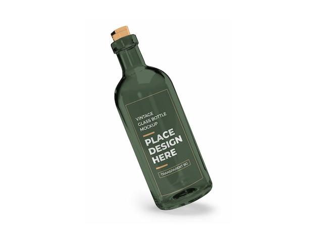 Винтажная стеклянная бутылка 3d макет дизайна