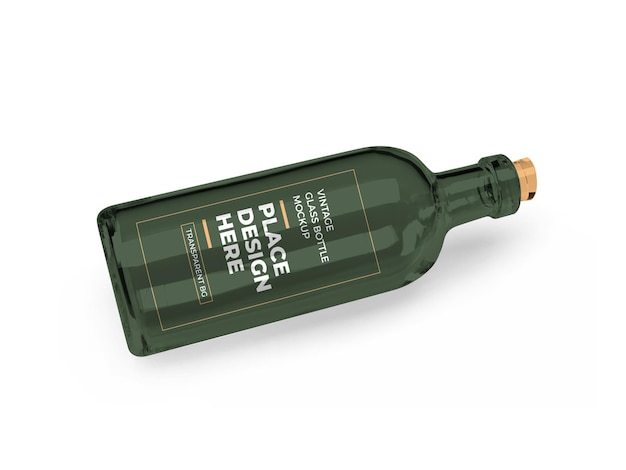 Vintage glass bottle 3d mockup design