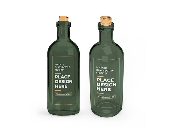 Vintage glass bottle 3d mockup design