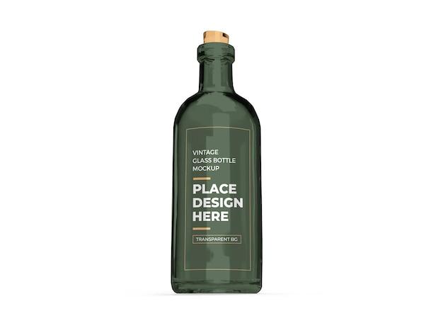 Vintage glass bottle 3d mockup isolated design