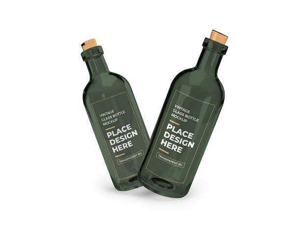 Vintage glass bottle 3d mockup isolated