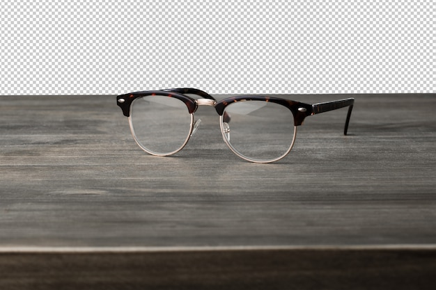 Vintage glasses on a wooden surface