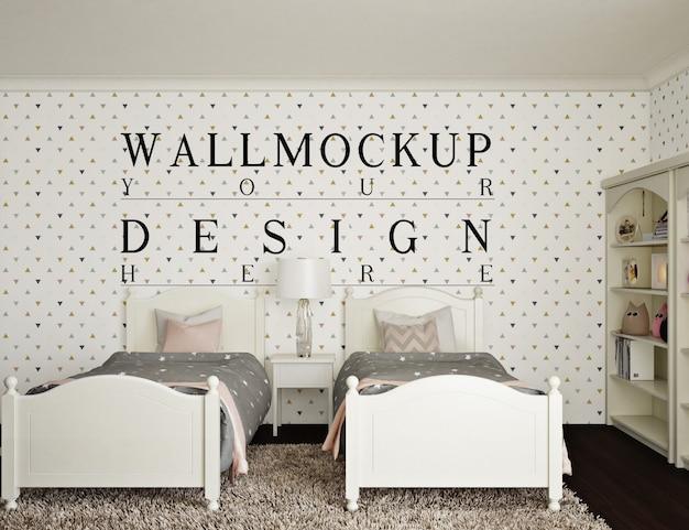 Vintage kids bedroom with mockup wall