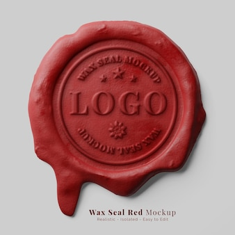 Vintage letter sealing classic red candle dripping wax seal stamp logo mockup