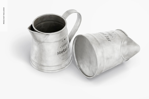 Vintage metal jars mockup, standing and dropped