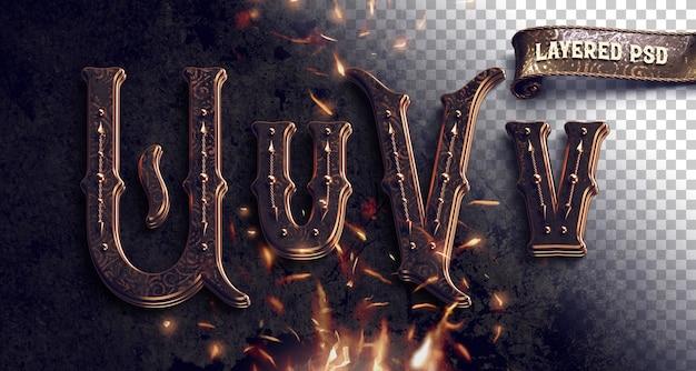 화재와 빈티지 금속 알파벳