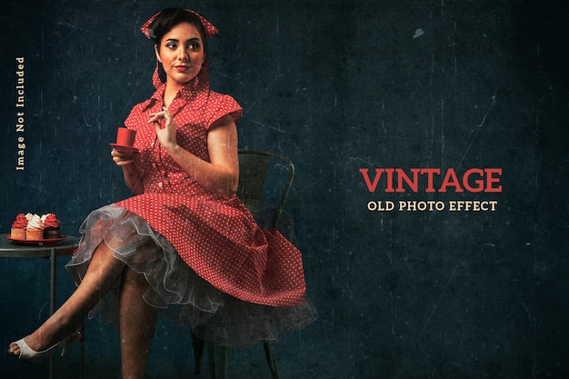 Vintage old photo effect template