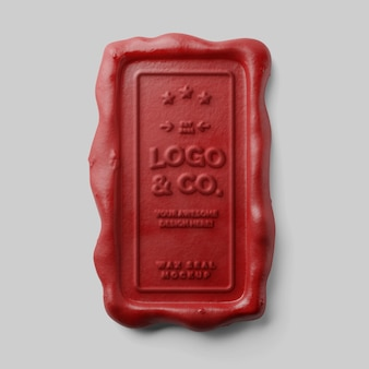 Vintage old school stamping vertical rectangle red candle wax seal embossed mockup