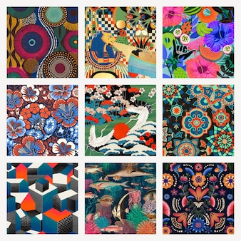 Vintage pattern background psd set, remixed from public domain artworks