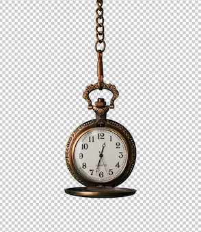 Vintage pocket watch isolated against white background