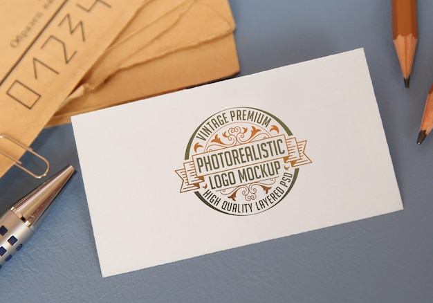 Vintage premium photorealistic logo mockup - high quality layered logotype mock-up psd file