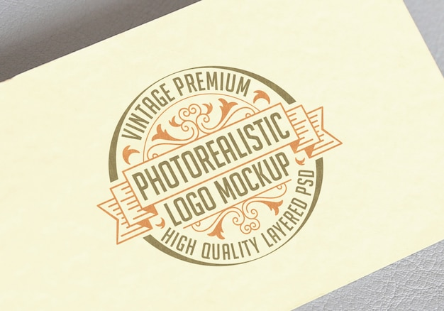 Vintage premium photorealistic logo mockup - высококачественный psd-файл со слоистым логотипом