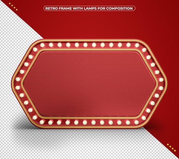 Vintage red retro frame of led lights for composition